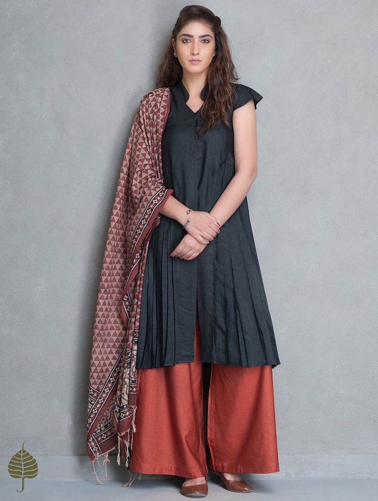 Buy Black Natural Dye Tussar Munga Side Pleated Kurta by Jaypore Silk Apparel Tunics & Kurtas Dawn Dusk Stone Encrusted Two Toned Silver Earrings Online at Jaypore.com