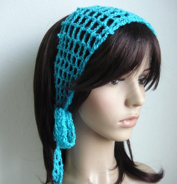 Gypsy style Crochet Hair band / short scarf in Cyan Color. $9.80, via Etsy.