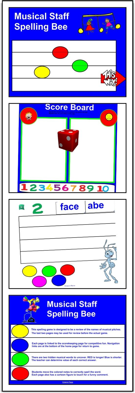 SMARTBoard Musical Spelling Bee Activity / interactive, roll die, spell staff words, earn points, review Treble and Bass staff notation, ideas for 1:1 iPad use. Giggly fun review.