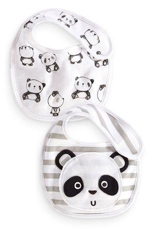 Panda Face Bibs Two Pack