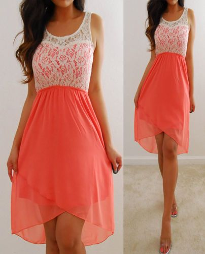 Rue 21 Ivory Coral Pink Lace Chiffon Forever Flowy Elegant Hi Dress M | eBay