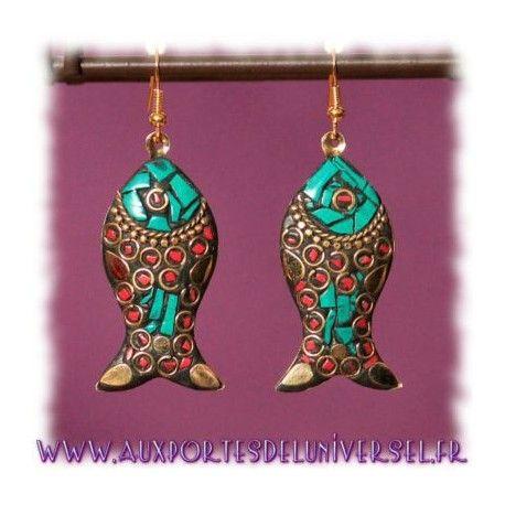 """Boucles d'oreille tibétaines dorées au choix, Collection """"Esprit tibétain"""" sur la boutique ésotérique en ligne Aux Portes de l'Universel"""