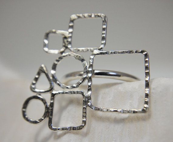 Geometric sterling silver forms ring by mardargent on Etsy, €30.00