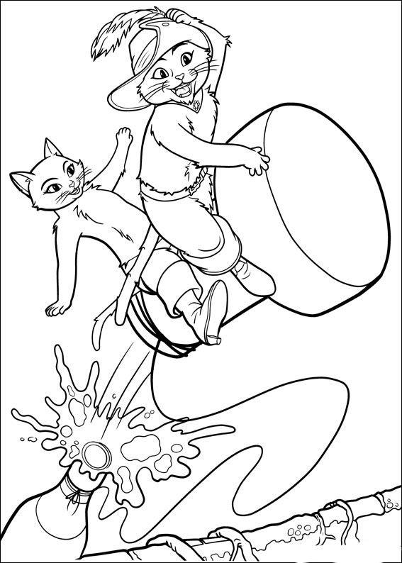 Disegni da colorare per bambini. Colorare e stampa Il gatto con gli stivali 15
