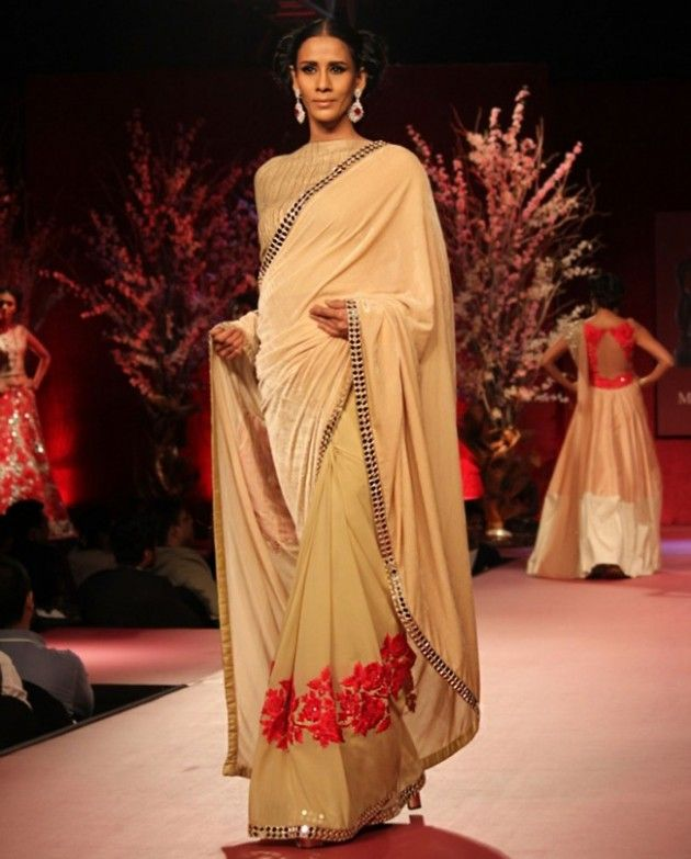 Beige Sari Manish Malhotra Straight Suits Dresses