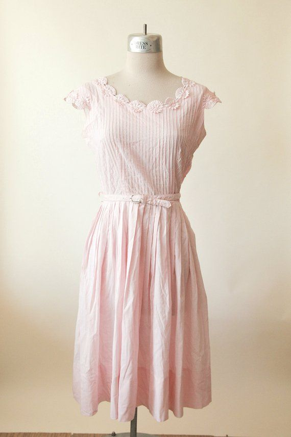 f8688da3c9d 50s Pink Floral Cotton Dress