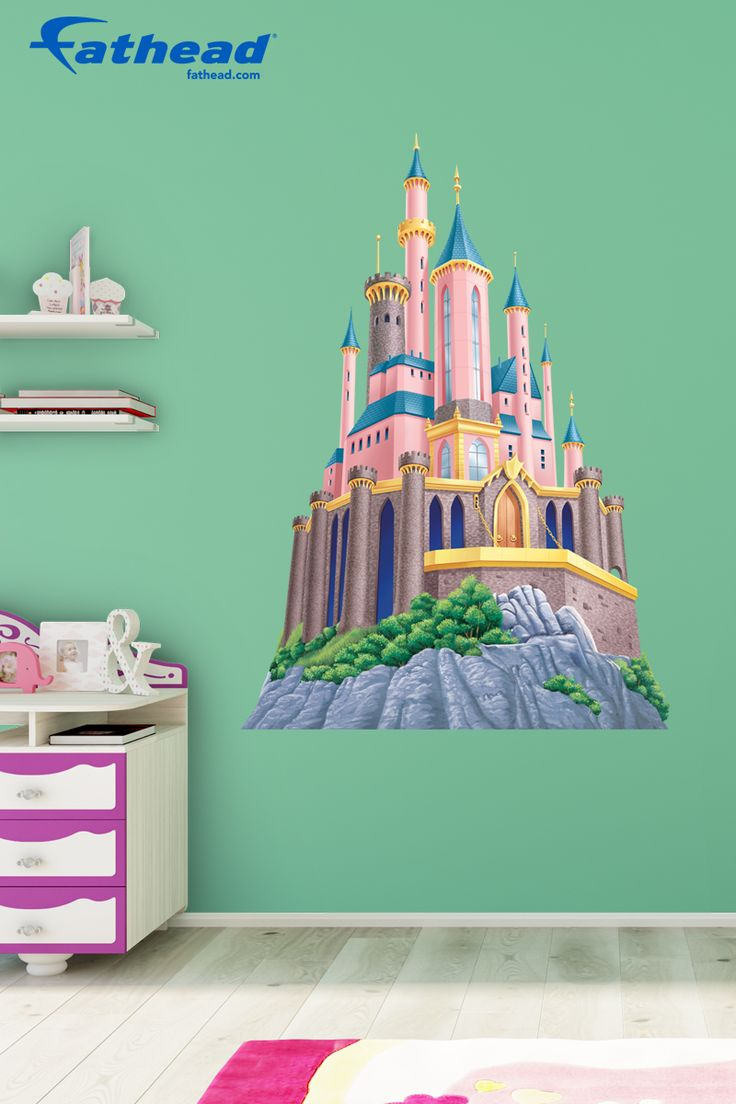 Disney Princes Castle | Do you hate putting holes in your walls? Fathead wall decals can last many years without peeling making them a great home décor option. SHOP http://www.fathead.com/disney/princesses/disney-princess-castle | Home Decor On A Budget | Disney DIY Girls Bedroom Decor | New Baby Ideas | Nursery Peel + Stick Wall Murals | Fathead Wall Decals | Disney Decor