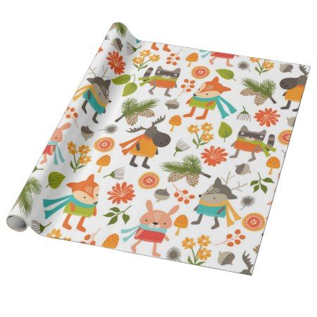 Cute Folksy Woodland Animals Wrapping Paper - tap, personalize, buy right now! #pattern #patterns #illustrations #illustration #animal #animals #giftwrap #giftwrapping #kids #children