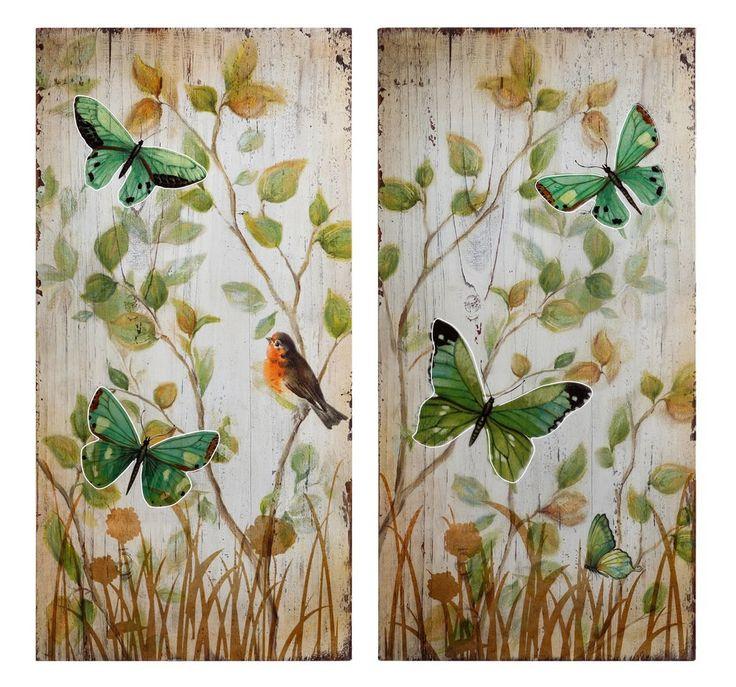 Mural Mariposas Verdes en Hierro 2 x 40 x 80 cm