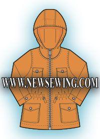 Бесплатная выкройка детской курточки. Готовая выкройка в натуральную величину на рост 104 см.