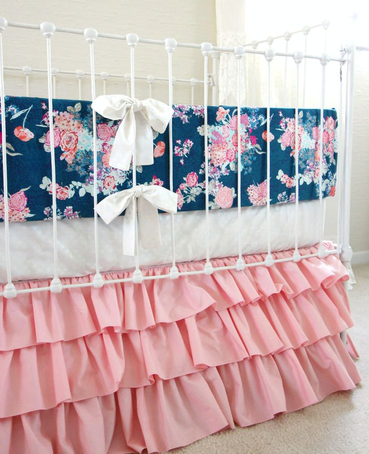 Pink and Navy Child Woman Bedding customized crib bedding navy and pink - http://babyfur.net/pink-and-navy-baby-girl-bedding-custom-crib-bedding-navy-and-pink/