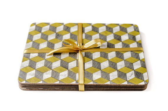 4 Yellow Grey Placemats Geometric Placemats Retro by EInderDesigns