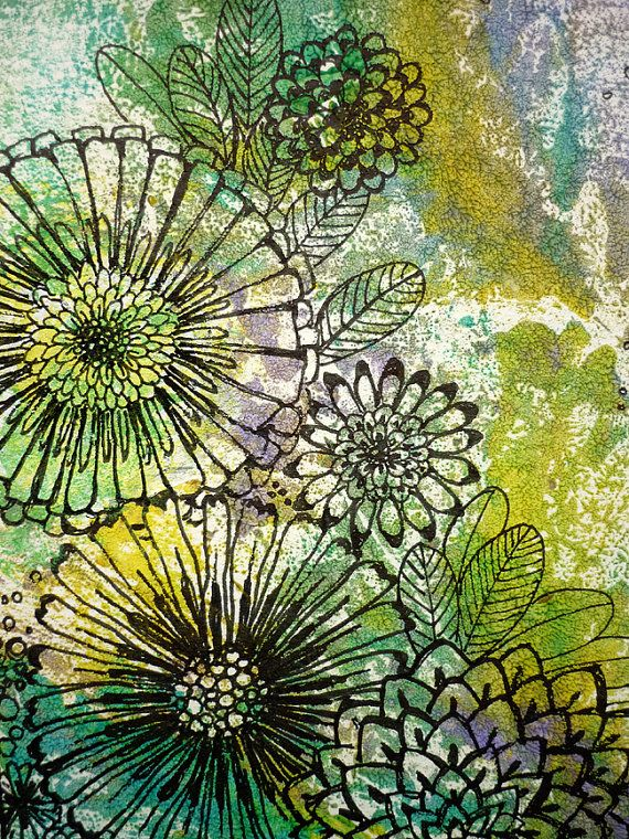 Original Monotype and Ink Drawing  Bloom by DancingGirlArt on Etsy, $24.00