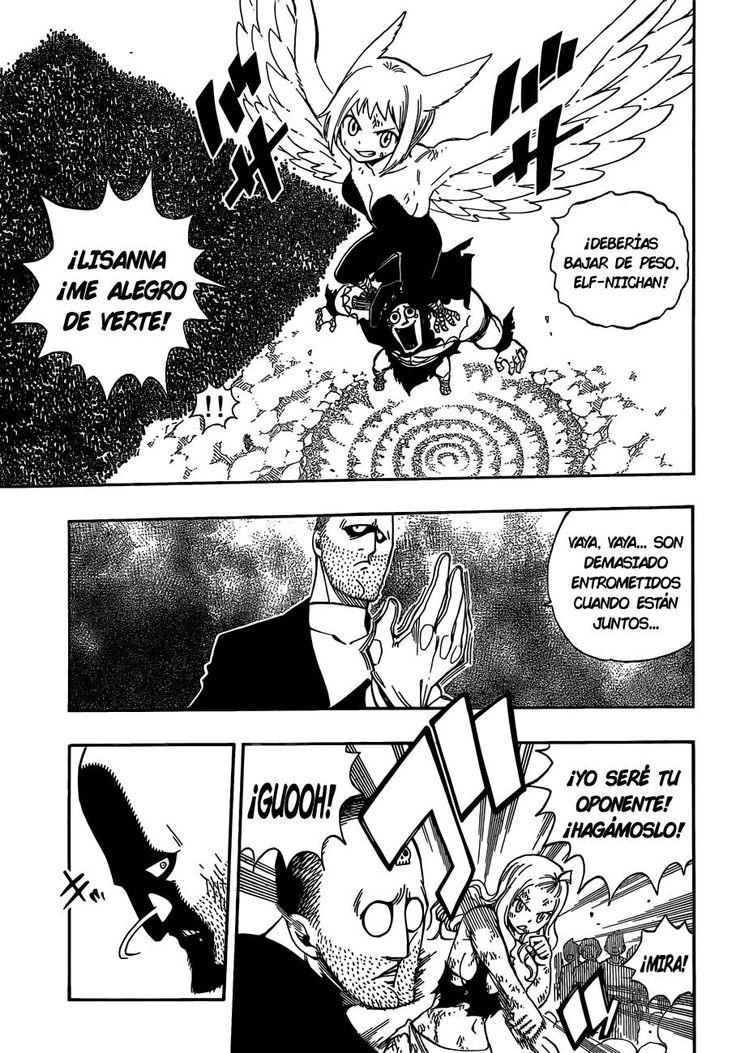 Lisanna salva a Elfman de la Tormenta de Arena mientras Mirajane golpea a Jacob Lessio - Fairy Tail Manga 496