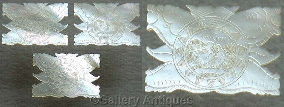 Three Large 19th Century Antique Chinese Mother of Pearl Rectangular Engraved Hand Made silk Thread Winders / Game Counters (ref: 4015)