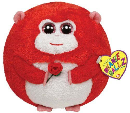 Ty Beanie Ballz In Love Monkey with Rose Plush * Learn more by visiting the image link.