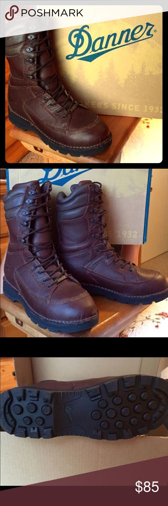 Mens Danner Boots Mens size 9 Med. Danner Work Boots! I bought these a 1/2 size to small for my Husband unfortunately at $130.00, Regular $199.99 Never worn, Brand New. This is an upscale brand that wears well and lasts. Perfect for any hard working man! Danner Shoes Boots