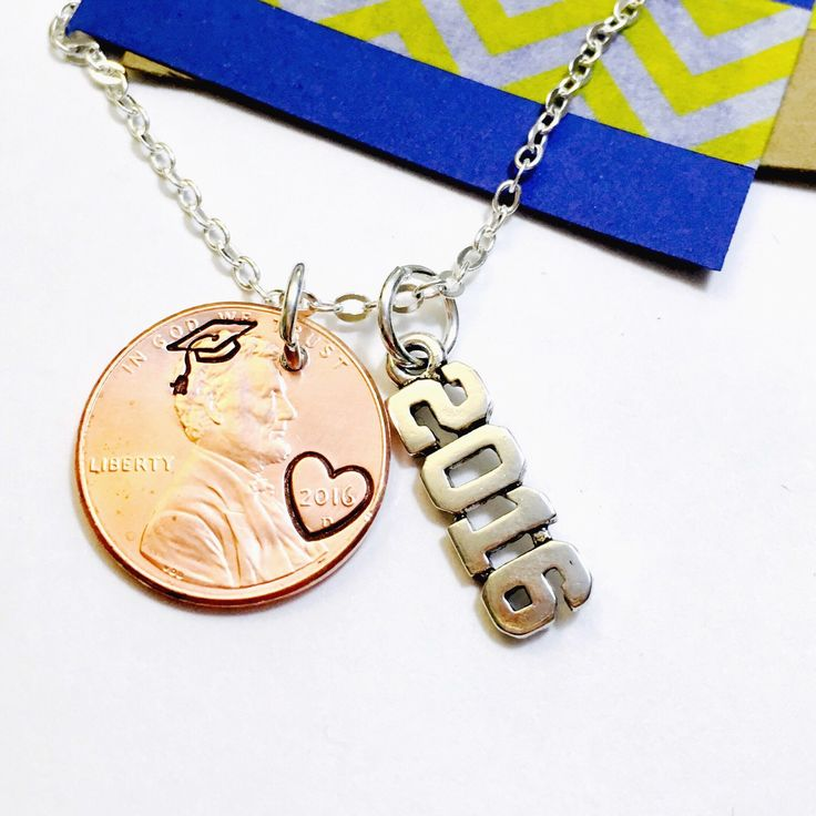 Graduation Necklace- Class of 2017 Necklace Hand Stamped Penny Necklace -Personalized Penny Necklace- Good Luck Necklace