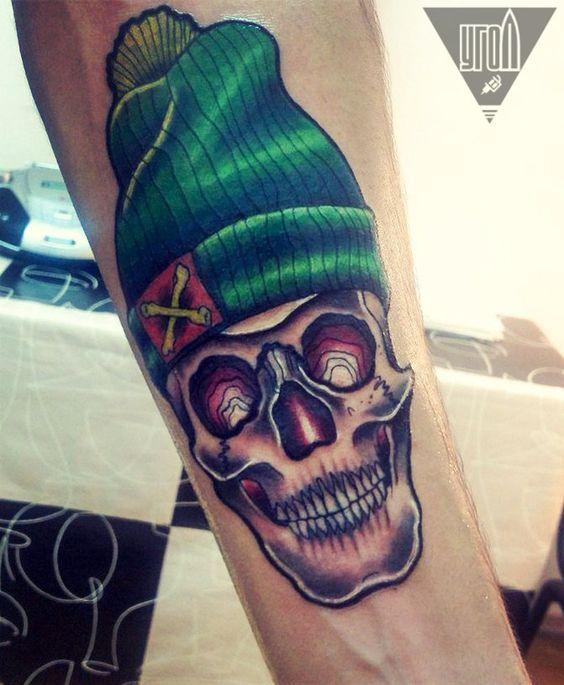 skul tattoo, череп тату, угол: