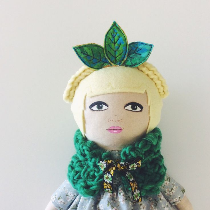 Ivy doll wears a leaf crown and soft crocheted wrap :: new in store on Etsy now!