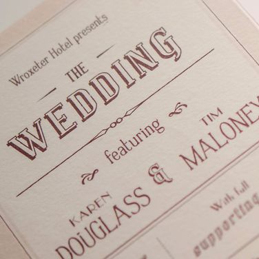 Karen and Tim's wedding stationery was inspired by their love of the theatre and the 1940's. Their theatrical use of language flows through all of their wedding stationery, from their invitations, programme style order of service and even their place cards (more images coming soon).