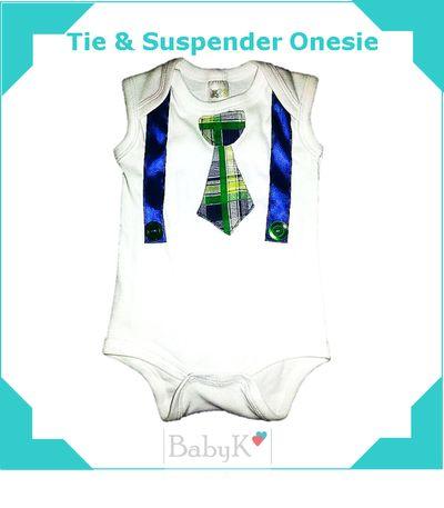 Tie & Suspender Onesie by BabyK.
