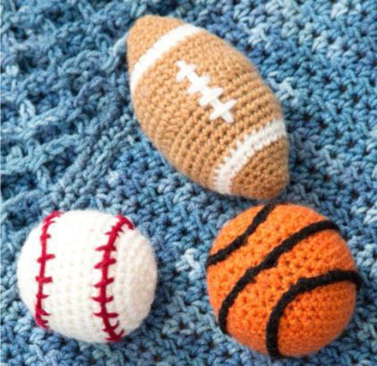 Baseball, Football and Basketball Rattles - Free Amigurumi Pattern here: http://www.redheart.com/files/patterns/pdf/LW4224.pdf
