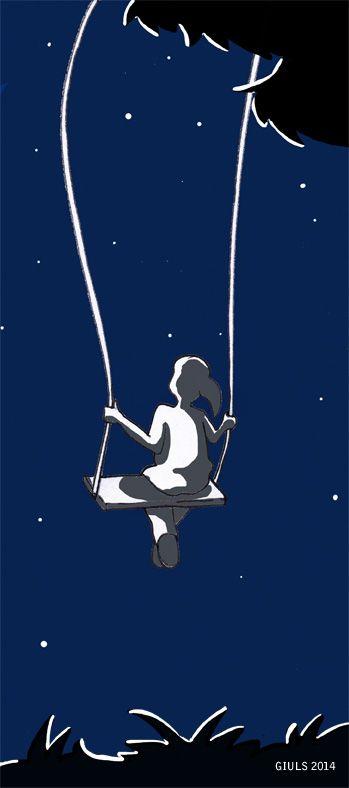 #altalena #notte #stelle #buio #ombre #luci #illustrazioni #arte #colore #libro #book #night