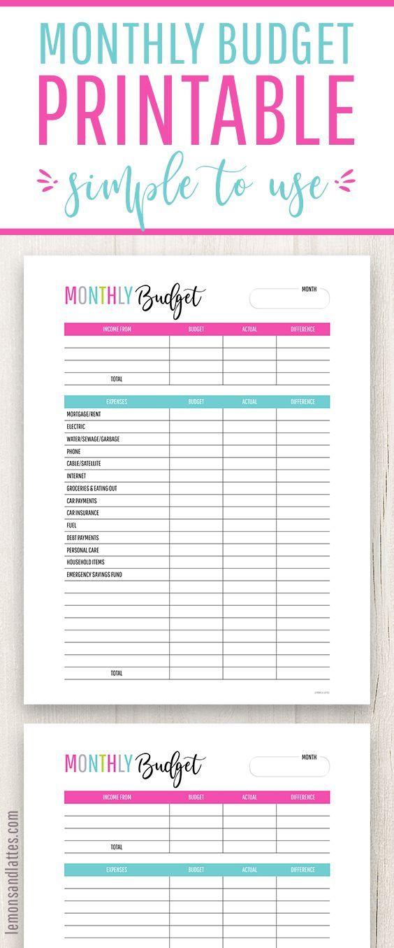 buget worksheets