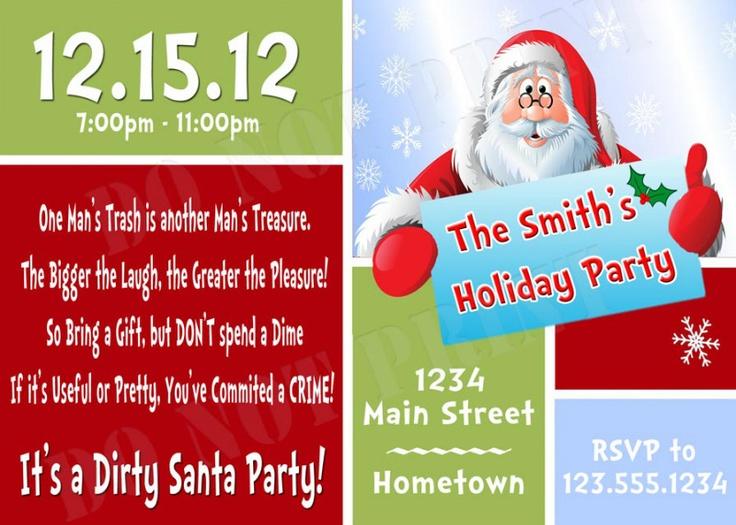 DIY PRINTABLE - Having a Secret Santa Party? White Elephant Gift Exchange? Dirty Santa Party Invitations $12.00