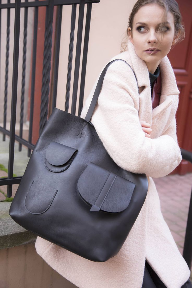 Black leather tote bag, Tote leather, large leather tote bag, women leather tote, modern tote bag, modern laptop bag,black leather, BLACK