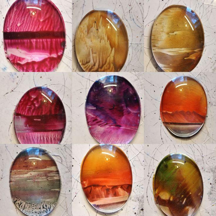 Miniature encaustic paintings under glass cabouchon as a pendant