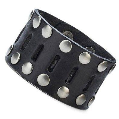 R&B Bijoux - Bracelet de Force Homme - Clous Métal Argenté Style Punk Rock - Manchette Large Cuir (Noir). 14,90€