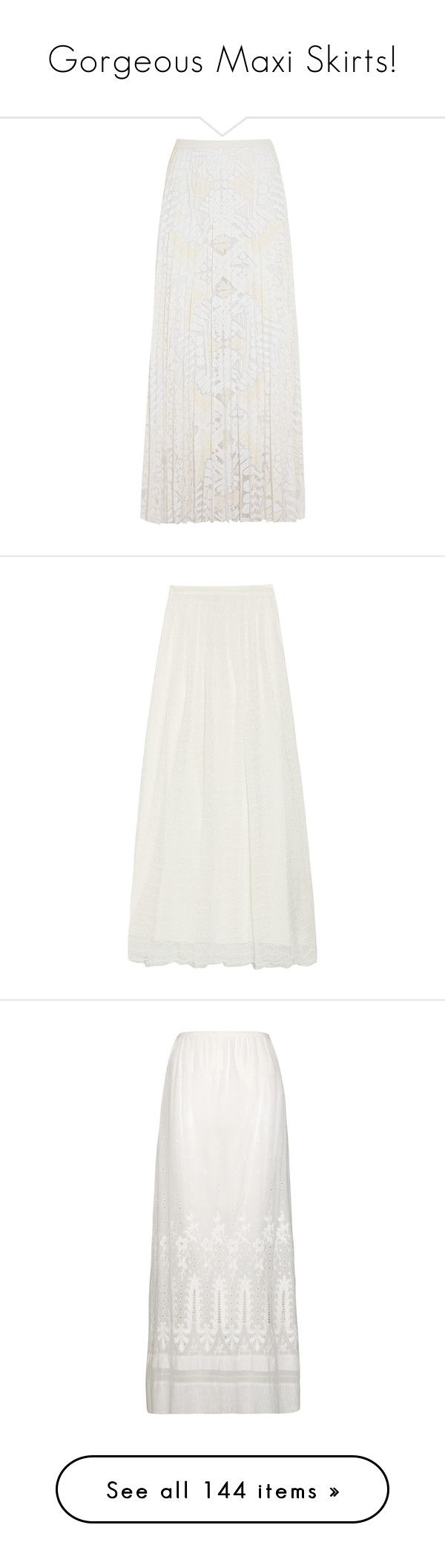 """""""Gorgeous Maxi Skirts!"""" by jewelsinthecrown ❤ liked on Polyvore featuring skirts, white, long maxi skirts, long pleated maxi skirt, pleated skirt, white pleated skirt, long white maxi skirt, long tulle skirt, off white maxi skirt and ankle length skirt"""