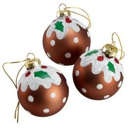 Love these! Christmas Pudding Glass Baubles 3 Pack #poundlandchristmas