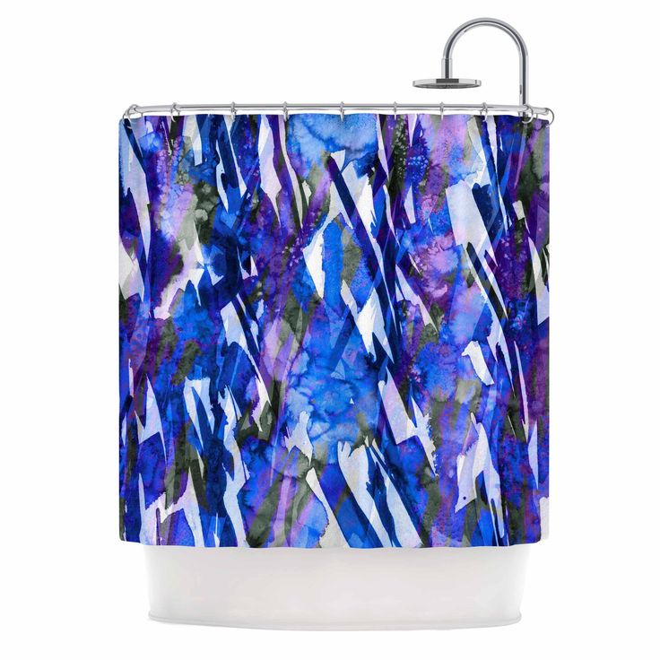 "Ebi Emporium ""Frosty Bouquet 3"" Blue Purple Shower Curtain"