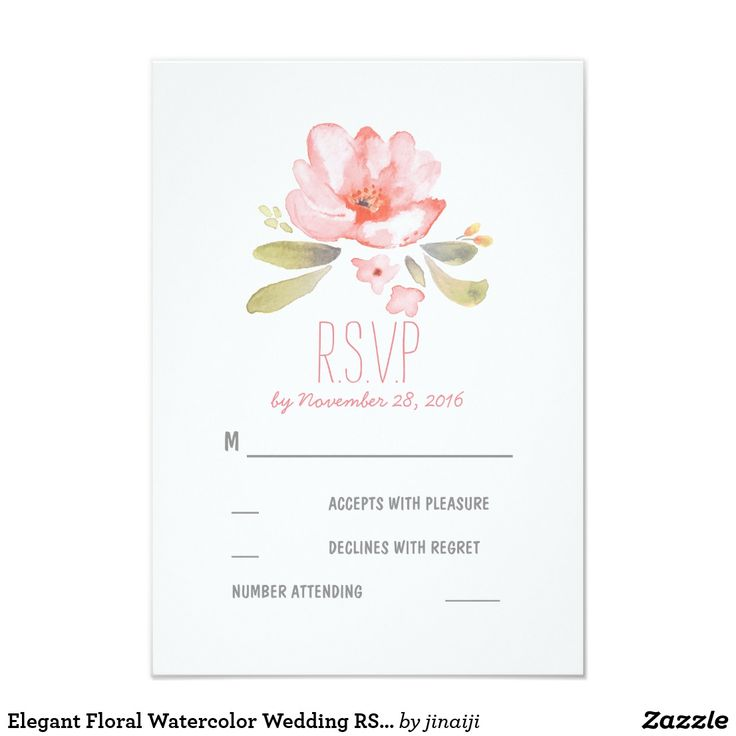 Elegant Floral Watercolor Wedding RSVP Cards Floral wedding reply cards with pink blush hand painted watercolor flowers