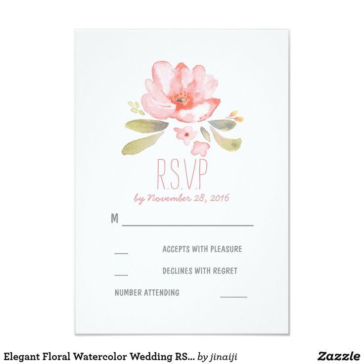 elegant floral watercolor wedding rsvp cards