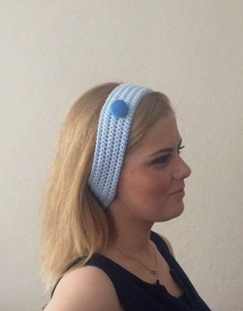 blue knitted headband  buttons blue hair bands knit headband