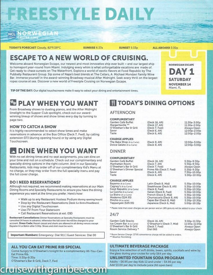 Norwegian Escape Daily activity plan