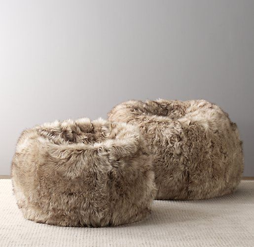 RH $179 Luxe Faux Fur Bean Bag I Wonder How Hard It Would Be To Make