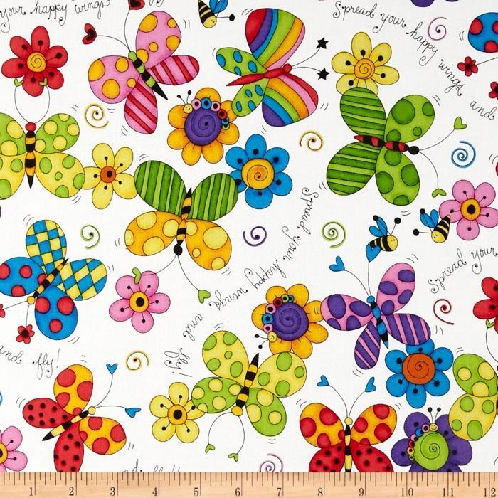 Cute As A Bug Butterflies/Flowers/White