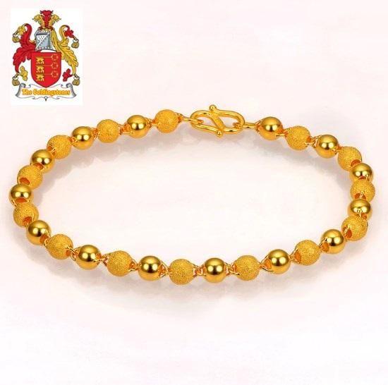 44a923dc9 24K Pure 999 Gold Genuine Stardust Texture and Plain Balls Bracelet ...