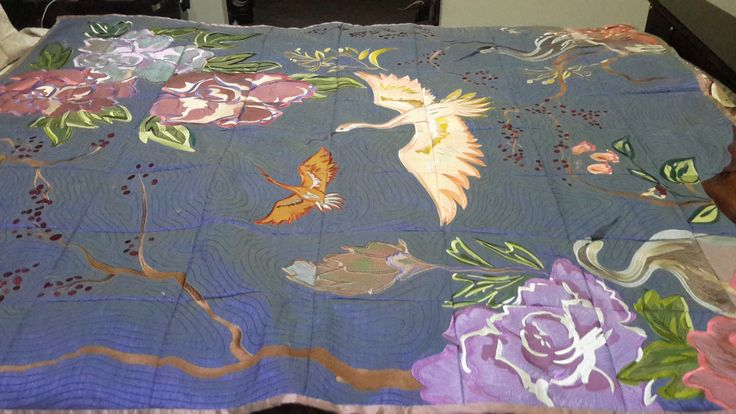 My latest creation the Anita Goodesign Crane Tapestry quilt. Blue Silk for  the base with silk applique and machine embroidered. This has just won first prize at our show
