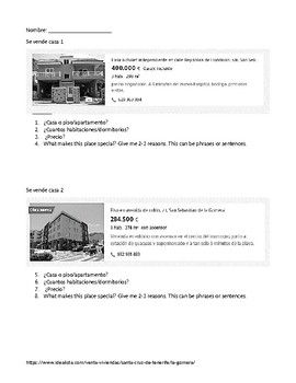 Se vende casa! House for sale activity! This is a beginner Spanish activity to help students with house vocabulary and descriptions while using authentic materials. TPT $1