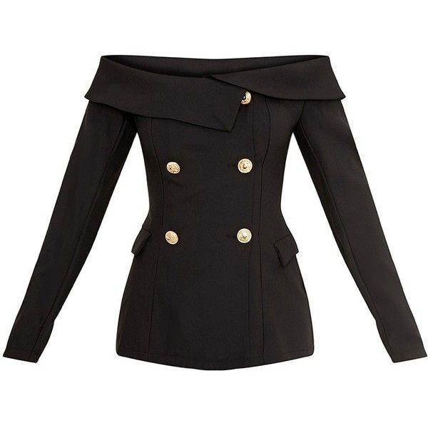 Malani Black Bardot Military Style Blazer (€38) ❤ liked on Polyvore featuring outerwear, jackets, blazers, blazer jacket, military blazer, military inspired jacket, military style blazer and fashion military jacket