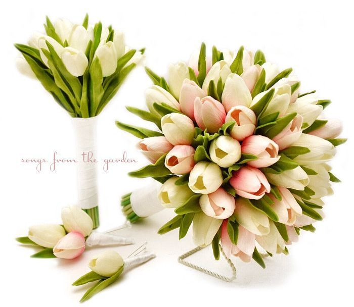 Real Touch Tulips Bridal & Bridesmaid Bouquet White Pink Tulips White Ribbon Tulip Wedding Flower Package