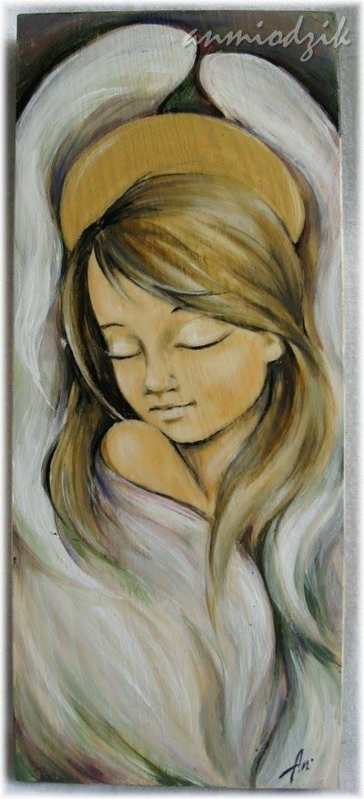 angel acrylic painting on wood