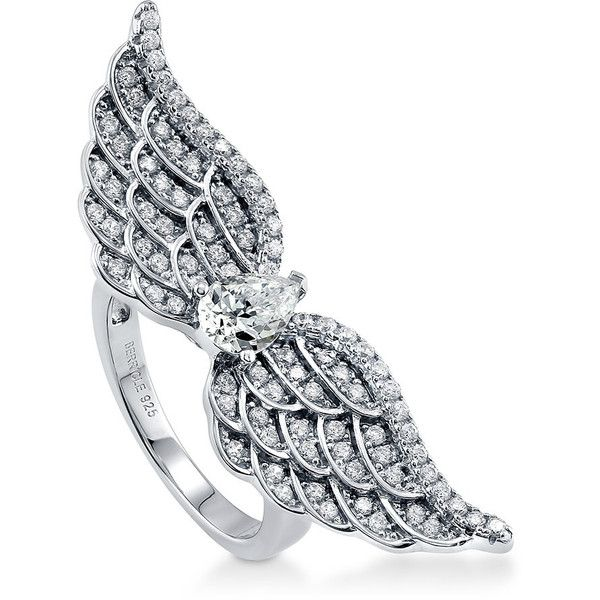 BERRICLE Sterling Silver 1.57 ct.tw CZ Angel Wings Fashion Right Hand... found on Polyvore featuring jewelry, rings, accessories, clear, women's accessories, cz band ring, sterling silver cocktail rings, band rings, angel wing ring and zirconia rings