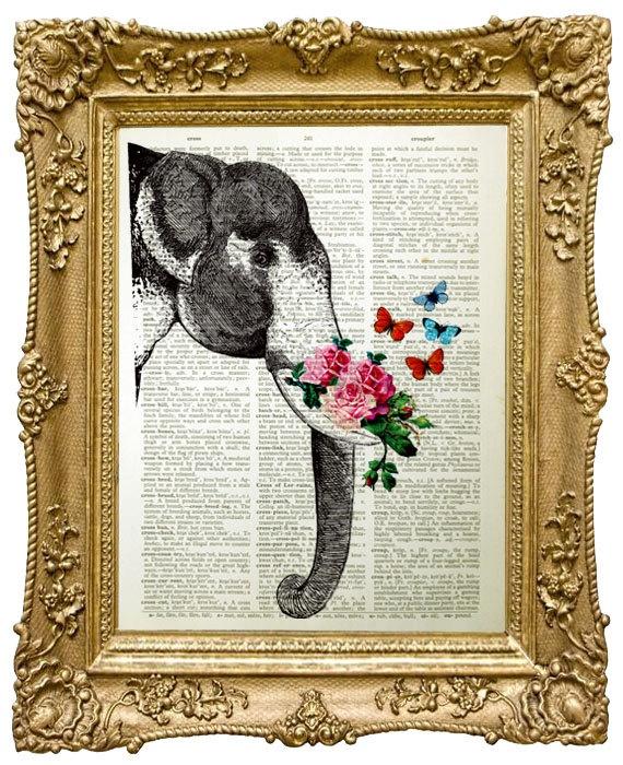 Framed Elephant print on printed page